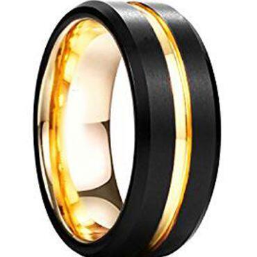 COI Titanium Black Gold Tone Center Groove Ring-3292
