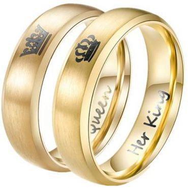 *COI Gold Tone Titanium King Queen Crown Beveled Edge Ring-3343AA
