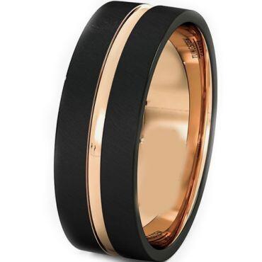 *COI Titanium Black Rose Center Groove Ring - JT3344