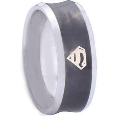 *COI Titanium Black Silver Superman Concave Ring - JT3349