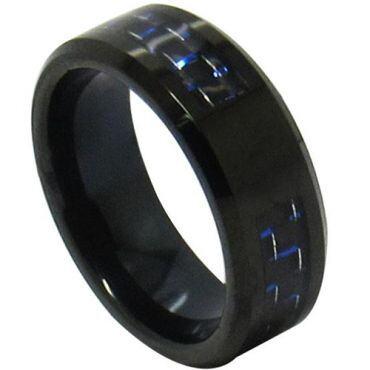 COI Black Titanium Carbon Fiber Beveled Edges Ring - JT3516