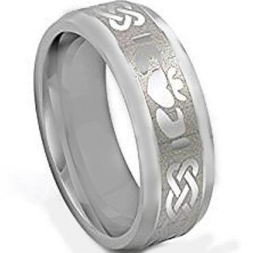 COI Tungsten Carbide Mo Anam Cara Celtic Beveled Edges Ring-TG3534