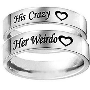 *COI Titanium His Crazy Her Weirdo Pipe Cut Flat Ring-JT3540
