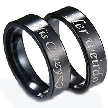 *COI Black Titanium His Crazy Her Weirdo Flat Ring-JT3548
