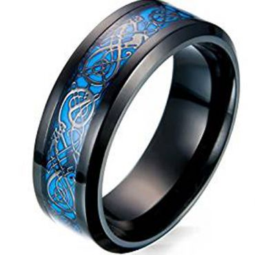 COI Titanium Black Blue Dragon Beveled Edges Ring-3551AA