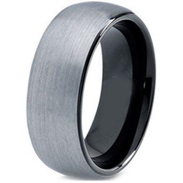 *COI Titanium Black Silver Dome Court Ring - JT3569