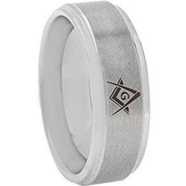 **COI Tungsten Carbide Masonic Step Edges Ring - TG3645