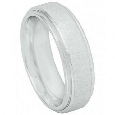 **COI Titanium Step Edges Polished Shiny Wedding Band Ring - JT3883