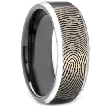 COI Tungsten Carbide Black Silver Custom FingerPrint Ring-TG3972