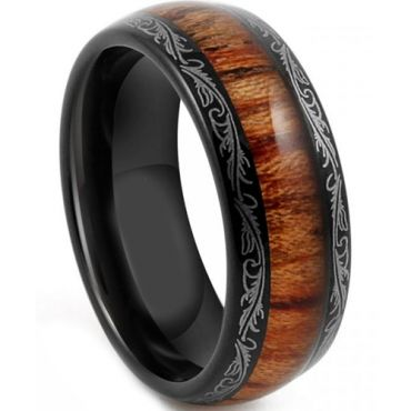 COI Black Titanium Damascus Dome Court Ring With Wood - JT4085