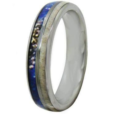 COI Titanium Deer Antler & Blue Wood Dome Court Ring - JT4087