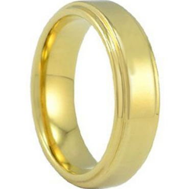 *COI Gold Tone Titanium Polished Shiny Step Edges Ring-JT5003