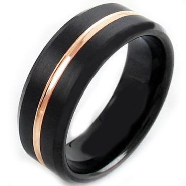 *COI Titanium Black Rose Center Groove Beveld Edge Ring-JT5005