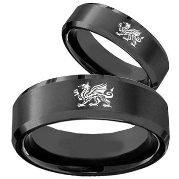 COI Black Titanium Dragon Beveled Edges Ring-JT5007