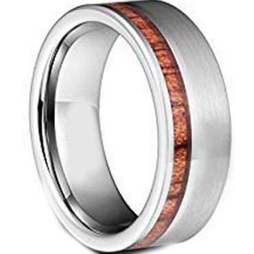 COI Titanium Ring With Offset Wood-JT5008