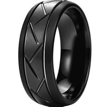 *COI Black Titanium Double Grooves Tire Tread Ring-JT5016