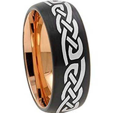 COI Titanium Black Rose Celtic Dome Court Ring-JT5028