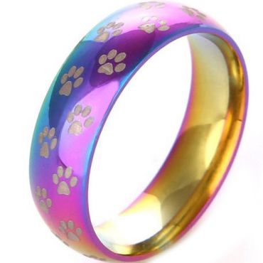 COI Titanium Rainbow Color Dome Court Ring With Paws-JT5029