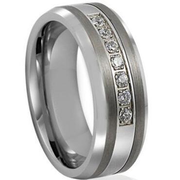 *COI Titanium Beveled Edges Ring With Cubic Zirconia-JT5035