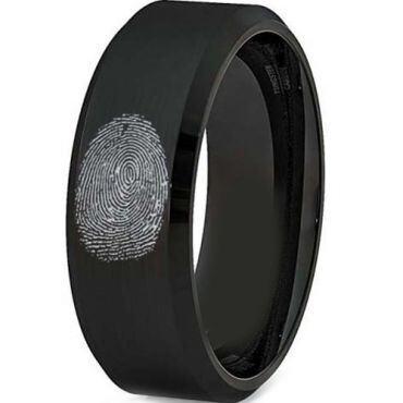 COI Black Titanium Beveled Edges Custom FingerPrint Ring-5038