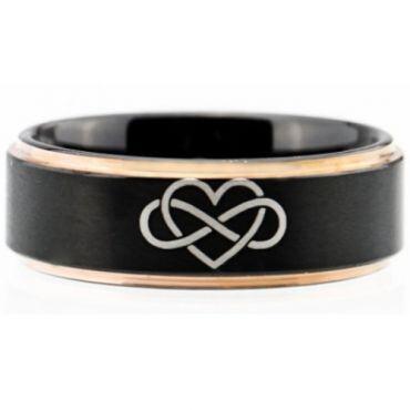 *COI Titanium Black Rose Kingdom & Heart Step Edges Ring-5052