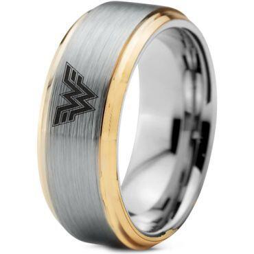 *COI Titanium Gold Tone Silver Wonder Woman Step Edge Ring-5053