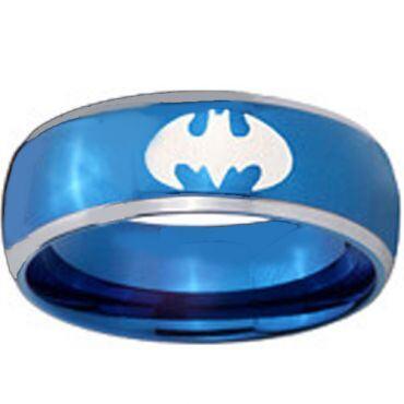 *COI Titanium Blue Silver Batman Beveled Edges Ring-JT5055