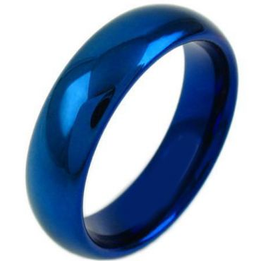 COI Blue Titanium Dome Court Wedding Band Ring-JT5061