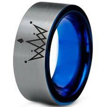 *COI Tungsten Carbide Blue Silver King Crown Pipe Cut Ring-TG5138