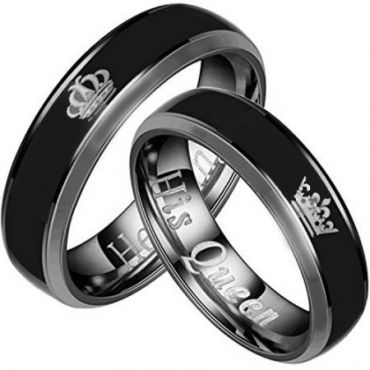 *COI Titanium King Queen Crown Beveled Edges Ring - 2094