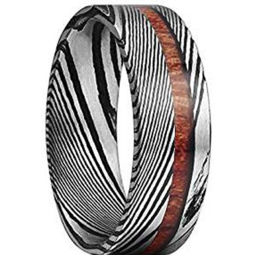 COI Titanium Black Silver Damascus Ring With Offset Wood - 1087