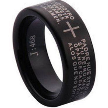 COI Black Tungsten Carbide Cross Scripture Ring - TG1097