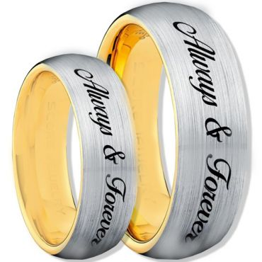 COI Tungsten Carbide Gold Tone Silver Always & Forever Ring-1115