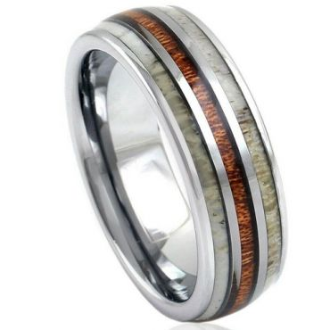 *COI Tungsten Carbide Deer Antler and Wood Dome Court Ring-1146
