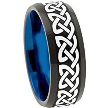 COI Tungsten Carbide Black Blue Celtic Dome Ring-TG1153AA
