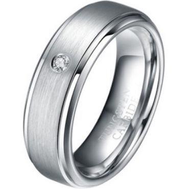 *COI Titanium Step Edges Ring With Cubic Zirconia - 1205