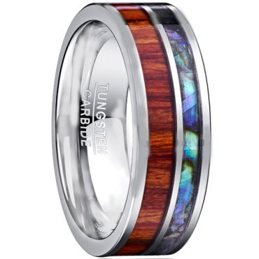 COI Tungsten Carbide Abalone Shell & Wood Ring - TG1206A