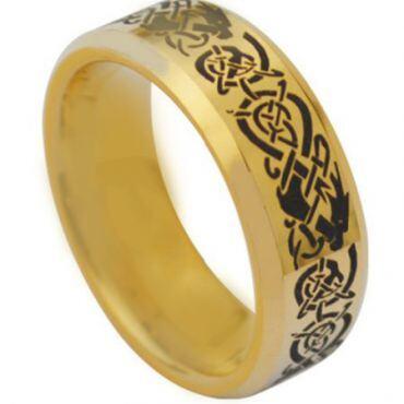 COI Gold Tone Tungsten Carbide Dragon Ring - TG3831