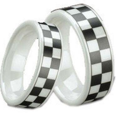 COI White Ceramic Checkered Flag Pipe Cut Ring - TG1296