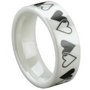 COI White Ceramic Double Heart Pipe Cut Ring - TG1298