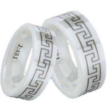 COI White Ceramic Greek Key Pipe Cut Ring - TG1300