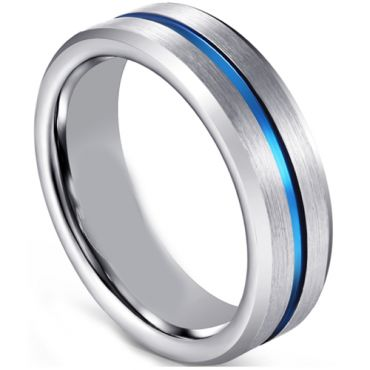 COI Tungsten Carbide Blue Silver Center Groove Ring - TG1306CC