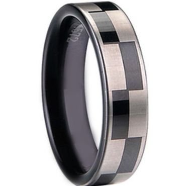 COI Black Tungsten Carbide Checkered Flag Ring - TG1413