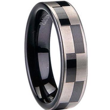 COI Black Tungsten Carbide Checkered Flag Ring - TG1413