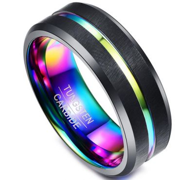 *COI Black Tungsten Carbide Rainbow Pride Ring - TG1414