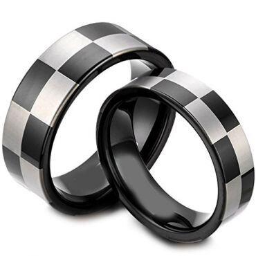 COI Black Tungsten Carbide Checkered Flag Ring - TG1418AA