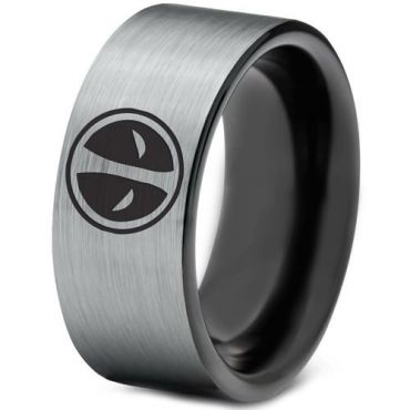 COI Tungsten Carbide DeadPool Pipe Cut Flat Ring - TG1437BB