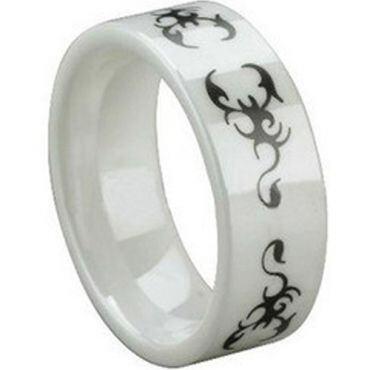 COI White Ceramic Scorpion Pipe Cut Flat Ring - TG1473