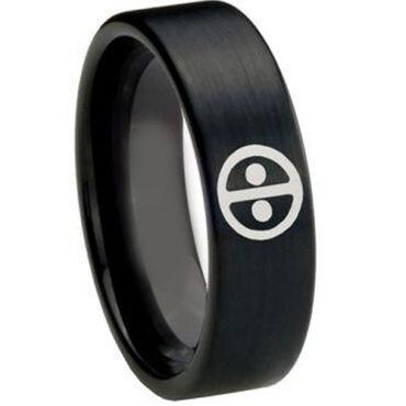 COI Black Tungsten Carbide DeadPool Pipe Cut Flat Ring-TG148
