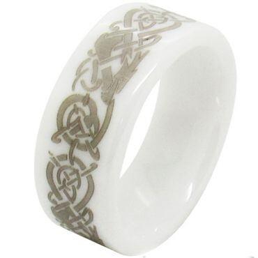 COI White Ceramic Dragon Dome Court Ring - TG1496AA